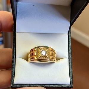 14k diamond men's solitaire ring